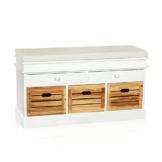 100cm Landhaus Kommode Schrank Sideboard Lowboard Regal Flur Bank Weiß + 3 Körbe -