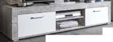 6.6.7.2945: made in BRD - Serie AWBW - Lowboard - weiss-grau gescheckt dekor - 2 Klappen - 2 Fächer - TV-Schrank -
