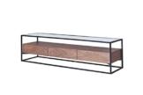 CAGUSTO® Lowboard CHICAGO TV-Schrank 150 x 40 x 40 Nussbaum Holz Echtholzfurnier mit schwarzem Metallrahmen und Glas-Ablage, Industrie Design, inkl. 3 Schubladen - 1