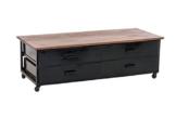 CLP Lowboard SATARA auf Rollen, im Industrie Design, Materialmix aus Mango-Holz und Metall, 140x60 cm, Höhe 45 cm braun -