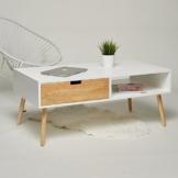 Couchtisch / Lowboard / TV-Tisch weiß natur mit 2 Schubladen Wohnzimmertisch Beistelltisch Retro Stil Design chic Wohnzimmer Sofa Tisch -