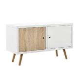 "[en.casa] Retro Kommode ""Wien"" / Sideboard / TV Lowboard mit 2 Schranktüren - Eiche/weiß -"