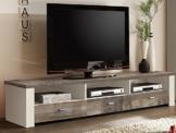 Fernsehschrank TV Lowboard Eiche geweißt/ Eiche Vintage 193cm -
