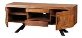 FineBuy Sheesham Massivholz Lowboard TV Hifi Regal 135 x 43 x 58 cm 2 Türen und 2 Schubläden -