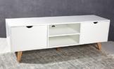 Kommode TV Tisch Retro Design weiß natur Sideboard Lowboard Modern chic -