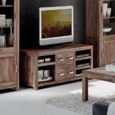 Low-Board aus massivem Sheesham Holz mit 4 Schubladen 148x56 cm | Miaw | Designer Kommode Shisham 5-Gerätefächer natur | Moderne TV-Bank aus Massiv-Holz 148cm x 56cm -