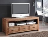 Lowboard Bihar 150x60x55 cm Akazie massiv stone TV-Möbel TV-Schrank Wohnzimmer -