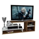 LUCA Wohnwand - TV Lowboard - TV Board - Fernsehtisch in modernem Design (Weiß / Nussbaum) -