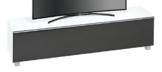 MAJA Möbel 7738 3673 Soundboard,  weißglas matt / akustikstoff schwarz, Abmessungen 180,20 x 43,30 x 42 cm -