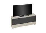 MAJA Soundconcept Soundboard TV-Board in Glas sand matt / Akustikstoff Schwarz 160x60x42cm -