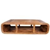 Massiver Couchtisch CURVED Sheesham Holz Stone Finish TV-Lowboard Holztisch Wohnzimmer Tisch -
