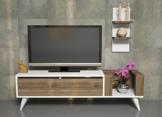 PERS Wohnwand - Weiß / Nussbaum - TV Lowboard - TV Board - Fernsehtisch mit Wandregal in modernem Design -