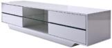 Robas Lund 59075W14 Blues Media TV Lowboard, Klarglasboden, RGB LED Wechselbeleuchtung mit Fernbedienung, 4 Schubkästen, 2 Fächer, 160 x 40 x 36 cm, MDF Hochglanz weiß lackiert -