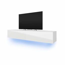Selsey Lana - Fernsehschrank/TV-Lowboard mit LED Modern Hängend 200 cm (Weiß Matt/Weiß Hochglanz) - 1
