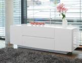 Side-Board mit 2 Türen und 2 Schubladen aus MDF weiß Hochglanz 168x60 cm fürs Wohnzimmer | Aline | Modernes Low-Board 2-türig | Design Kommode 2 Schubladen weiss Hochglanz 168cm x 60cm dekoriert Ihr Schlafzimmer -