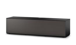Sonorous STA 160T-BLK-OLV-BS stehende TV-Lowboard mit versteckten Rollen, schwarzer Korpus, obere Fläche, gehärtetem Schwarzglas und Klapptür mit olivfarbenem Akustikstoff -