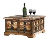 The Wood Times Couchtisch Tisch Massiv Vintage Look Delhi Holz FSC Recycled, LxBxH 70x70x40 cm -