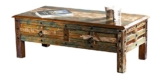 The Wood Times Couchtisch Tisch XXL Massiv Vintage Look Delhi Holz FSC Recycled, LxBxH 115x55x40 cm -