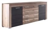 trendteam BM87259 Sideboard Wohnzimmerschrank Nussbaum-satin, Absetzungen dunkelbraun Touchwood Nachbildung, BxHxT 176x79x40 cm -