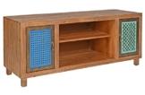 ts-ideen TV-Bank Lowboard Sideboard Kommode HiFi-Schrank Regal Flur Diele Wohnzimmer Vintage Antik Shabby Design Used Style massiv Holz Braun zwei Türen mit buntem Muster -