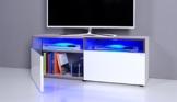 TV Bank / Lowboard NOOMO weiß / weiß Hochglanz inkl. RGB-LED Beleuchtung -
