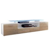 TV Board Lowboard Almada V2, Korpus in Weiß matt / Korpus in Eiche sägerau -