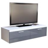 TV Board Lowboard Atlanta in Weiß / Grau Hochglanz -