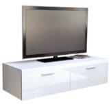 TV Board Lowboard Atlanta, Korpus in Weiß matt / Front in Weiß Hochglanz -