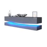 TV Board Lowboard City, Korpus in Schwarz matt / Fronten in Grau Hochglanz inkl. LED Beleuchtung -