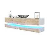 TV Board Lowboard City, Korpus in Weiß matt / Fronten in Eiche sägerau inkl. LED Beleuchtung -