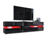 TV Board Lowboard Flow, Korpus in Schwarz Hochglanz / Front in Schwarz Hochglanz inkl. LED Beleuchtung -