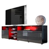 TV Board Lowboard Granada V2 in Schwarz / Weiß Hochglanz -