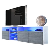 TV Board Lowboard Granada V2, Korpus in Weiß / Front in Avola-Anthrazit -