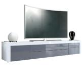 TV Board Lowboard La Paz, Korpus in Weiß Hochglanz / Front in Grau Hochglanz mit Rahmen in Weiß Hochglanz -