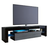 TV Board Lowboard Lima, Korpus in Schwarz / Front in Avola-Anthrazit -