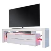 TV Board Lowboard Lima Nova, Korpus in Weiß matt / Front in Weiß Hochglanz -