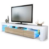 TV Board Lowboard Lima V2 in Weiß / Eiche sägerau -