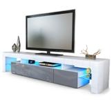 TV Board Lowboard Lima V2 in Weiß / Grau Hochglanz -