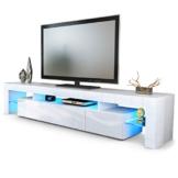 TV Board Lowboard Lima V2, Korpus in Weiß / Front in Weiß Hochglanz -