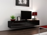 TV Board Lowboard Migo Hängeschrank Wohnwand 180cm (Schwarz Matt /Schwarz Hochglanz) -