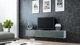 TV Board Lowboard Migo Hängeschrank Wohnwand 180cm (Weiß Matt / Grau Hochglanz) -