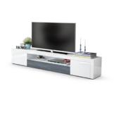 TV Board Lowboard Santiago V2, Korpus in Weiß Hochglanz / Fronten in Weiß Hochglanz und Avola-Anthrazit -