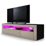 TV Board Lowboard Valencia, Korpus in Schwarz matt / Front in Eiche sägerau mit Rahmen in Eiche sägerau -