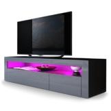 TV Board Lowboard Valencia, Korpus in Schwarz matt / Front in Grau Hochglanz mit Rahmen in Grau Hochglanz -