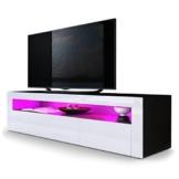 TV Board Lowboard Valencia, Korpus in Schwarz matt / Front in Weiß Hochglanz mit Rahmen in Weiß Hochglanz -