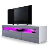 TV Board Lowboard Valencia, Korpus in Weiß matt / Front in Grau Hochglanz mit Rahmen in Grau Hochglanz -