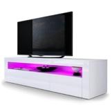 TV Board Lowboard Valencia, Korpus in Weiß matt / Front in Weiß Hochglanz mit Rahmen in Weiß Hochglanz -
