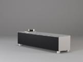 TV-Board Soundboard MAJA Soundconcept verschiedene Farben mit Akustikstoff schwarz in 140x43x42cm oder 180x43x42cm (180, Weißglas) -