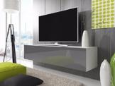 TV Lowboard Schrank Simple (100 cm, weiß matt / glänzend grau) -