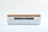 TV-lowboard, TV-Board, TV-Tisch Romina matt weiß, Deckplatte Asteiche Massivholz mit LED Beleuchtung -